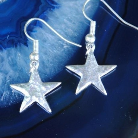 Hammered Star Pewter Earrings