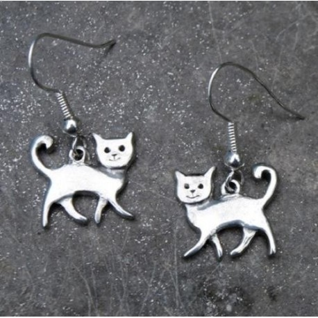 Happy Cat Pewter Earrings