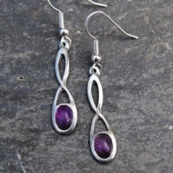 Celtic Twist Knot Earrings With Amethyst