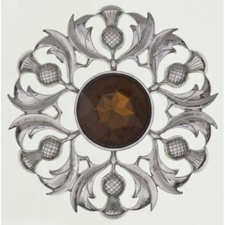Scottish Thistle Plaid Pewter Brooch With Stone