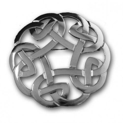 Celtic Interlace Plaid Pewter Brooch