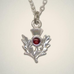 January (Garnet) Thistle Pendant