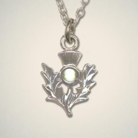 August (Peridot) Thistle Pendant